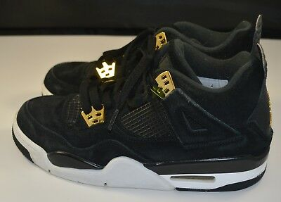 Nike Air Jordan 4 IV Retro BG Black Gold White Royalty Youth SZ 6.5Y