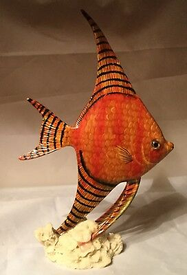 Orange Fish On Faux Coral Stand, For Display