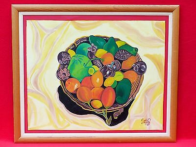 Vintage Oil Painting Spanish Mexican South American Fruits Signed Santos? Chuma