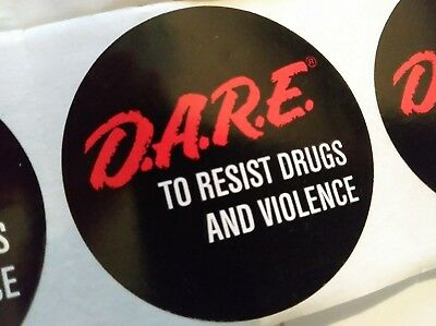 """Lot of 15 D.A.R.E. Stickers Black 2"""" Vintage 90s DARE To Resist Drugs & Violence"""