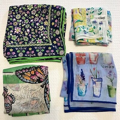 4 Scarves Square ALL 100% Silk Lime Bright Floral Flower Butterfly Vtg Scarf Lot