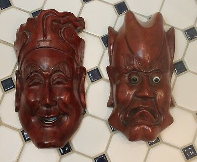 Two Hand Carved Hard Wood Chinese Mask 8 inches with teeth and eyes