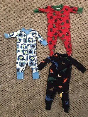 HANNA ANDERSSON LOT OF 3 BOY'S ONE PIECE PAJAMAS (50 cm)