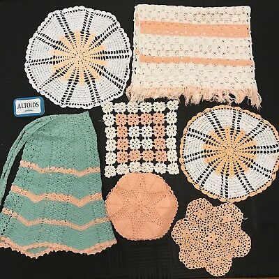 Lot of 21 Antique VTG Handmade Crocheted Doilies Cotton Doily Peach Assorted