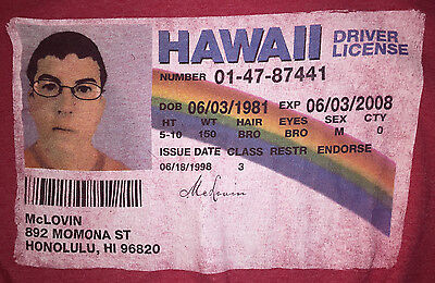 Large Red Movie TShirt Super Bad McLovin Hawaii Drivers License Fake ID Funny