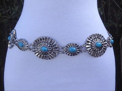 """Vtg. Silver Tone Metal Faux. Turquoise  Concho Style Chain  43"""" long"""