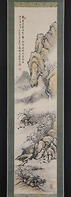 JAPANESE HANGING SCROLL ART Painting Sansui Landscape Asian antique  #E5680