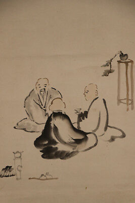 """JAPANESE HANGING SCROLL ART Painting """"Tea party"""" Asian antique  #E5678"""