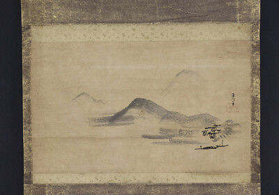 """JAPANESE HANGING SCROLL ART Painting """"Scenery"""" Asian antique  #E5679"""