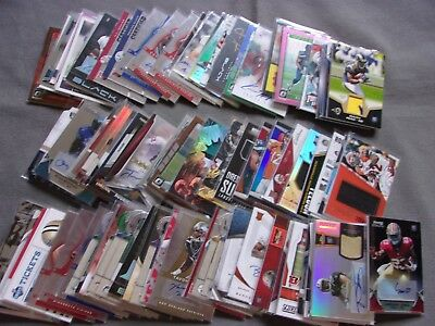 Huge Lot 100 Football Cards ALL Autograph AUTO Jersey Game used Relic