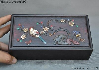 Chinese Rosewood wood Inlay shell lapis lazuli Turquoise coral flower bird box