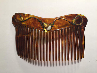 Vintage Celluloid Hair Comb, Tortoise Shell Pattern, Real Pearl, Art Nouveau