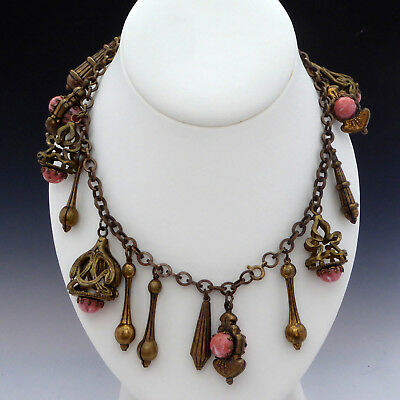 Ornate Antique Vintage Victorian Art Nouveau Coral Cab Dangle Charm Bracelets