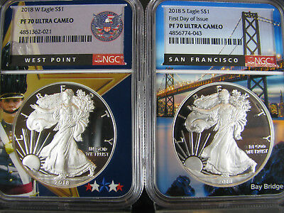 2018 W and S  Proof Silver American Eagles NGC pf 70 UCam, W.P. & S.F. Frame