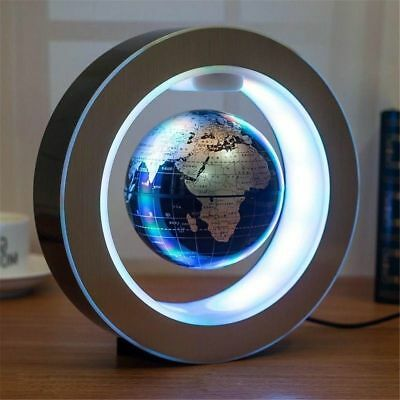 9'' Round O Shape Magnetic Levitation Floating Globe World Map w/ LED Light Blue