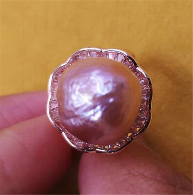 AAA+ flawless gorgeous HUGE 13-14MM purple pink pearl ring 18K peacock ROUND