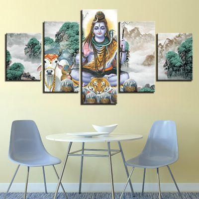 Hindu God Lord Shiva Religious 5 pieces Canvas Wall Artwork Home Decor
