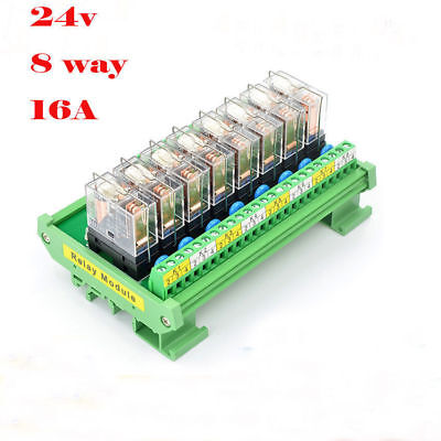 new dc 24v din rail mount 8 spdt 16a power relay module control plcnew dc 24v din rail mount 8 spdt 16a power relay module control