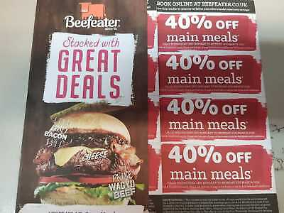 8 Beefeater New Year Vouchers - Valid 2Nd January Until 4Th March 2019