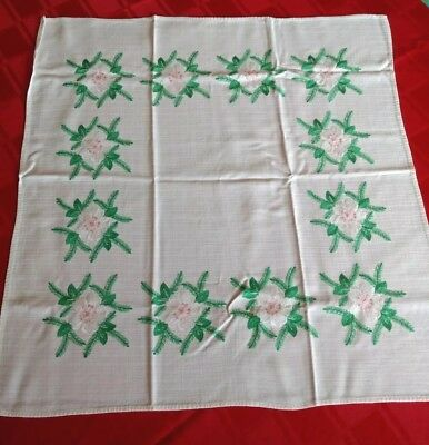"""VINTAGE  EMBROIDERED White LINEN Square TABLECLOTH 28x28"""" Snowrose-Pine"""