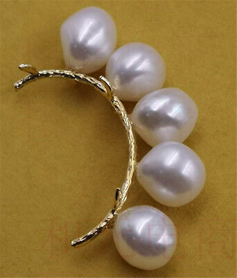 HUGE 10-12MM White pearl brooch 18K ouch classic Pairs Natural gold plating