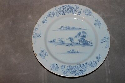 18th Century Dutch Delft  Chinoiserie Landscape Plate Blue and White