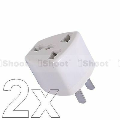 2 UK EU AU to US United States AC Power Plug Adapter Travel Converter f 220-240V