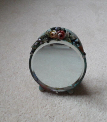 Vintage Barbola Bevelled Small Easel Mirror Jade Green