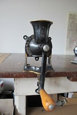 SPONGE & Co. #1 ANTIQUE WALL / TABLE MOUNTED CAST IRON BLACK COFFEE GRINDER
