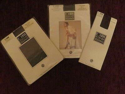 3 X Pairs of Vintage 1980s Couture Designer Stockings will fit up to size 8 shoe