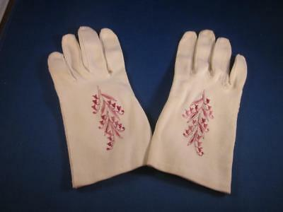 VTG Wear Right Ivory Dress Gloves w/ Dark Pink Embroidery Sz 7.5 West Germany