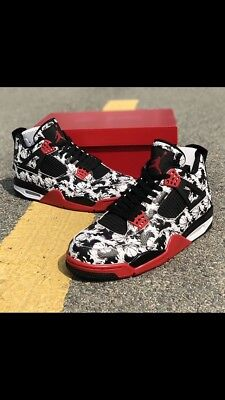 pretty nice 23f30 78052 Nike Air Jordan 4 Retro Tattoo Black White   Red UK9 EU44 US10 BQ0897-006