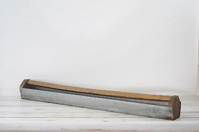 VTG Large Primitive Chicken Feeder Galvanized Metal Wood Bar Farm Trough K-2