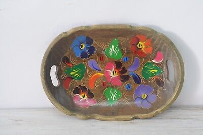 Decorative Hand Painted Wood Folk Art Bowl With Handles Tray