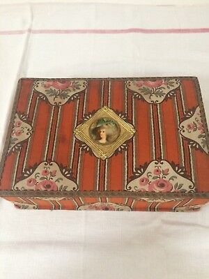 Pretty Antique French Floral Fabric Covered Boudoir Storage Box, Circa 1900's