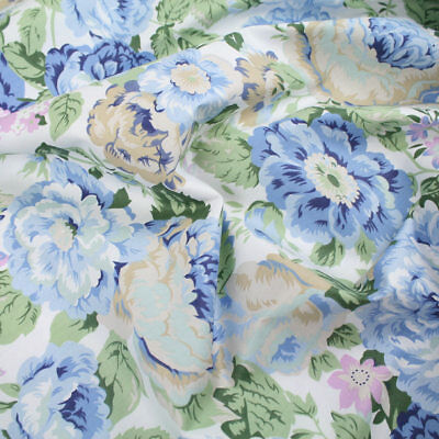 "Blue Dress Floral 100% cotton fabric sold by the meter 63"" super width 1901011"