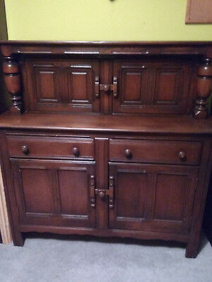Ercol Old Colonial Dresser Sideboard, Buffet Server Court Cupboard, in dark wood