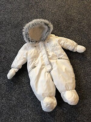 Baby K By Myleene Klass Baby Snowsuit Padded White Mothercare Immaculate 0/3M