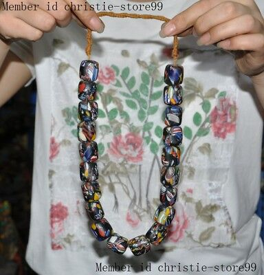 """11""""Old Chinese Buddhism temple Glass Bead Pray Bead Necklace Pendant Amulet"""