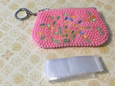 Vintage Pink Beaded With Flowers Keychain Coin Change Purse Kiss Lock