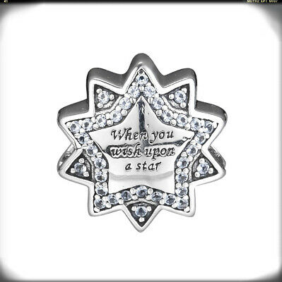 New Authentic Sterling Silver When You Wish Upon a Star CZ Charms fit Bracelet