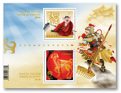 *pre-order 2019 Canada Year Of Pig Transitional Souvenir Sheet Year Dog to Pig