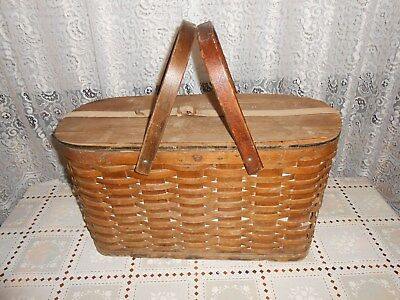 Vintage Basket Early Antique Wooden Metal Lined Hawkeye Cooler Wicker Picnic