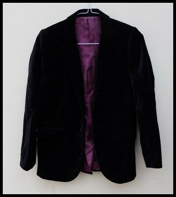 Boys M&S black velvet jacket paisley lining age 11