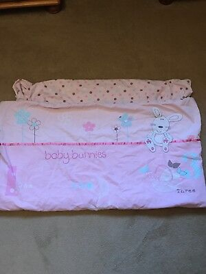 Next Baby Bunnies Pink Girls Cot Bed Duvet