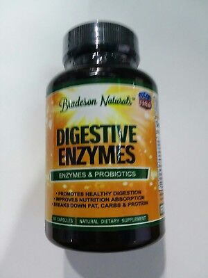 Digestive Enzymes And Probiotics All Natural By Bradeson Naturals 60 Capsules