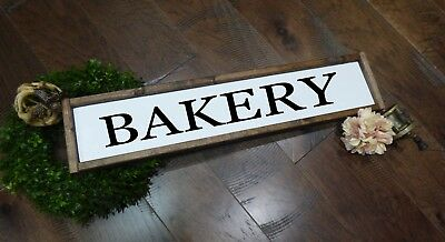 Framed BAKERY Farmhouse Sign fixer upper ANTIQUE Wood SIGN for bakery kitchen