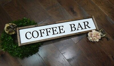 Framed COFFEE BAR Farmhouse Sign fixer upper ANTIQUE Wood SIGN for kitchen