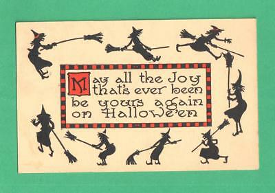 1913 Halloween Postcard Circle Of Witches Silhouettes Around Greeting