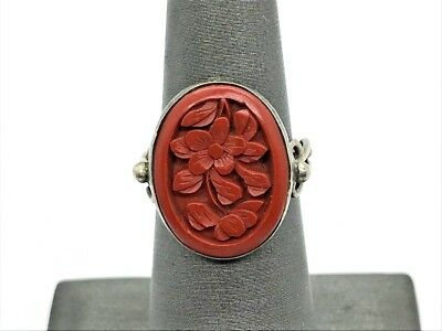 Antique Chinese Export Sterling Silver Flower Carved Cinnabar Ring 3.5g (MN)